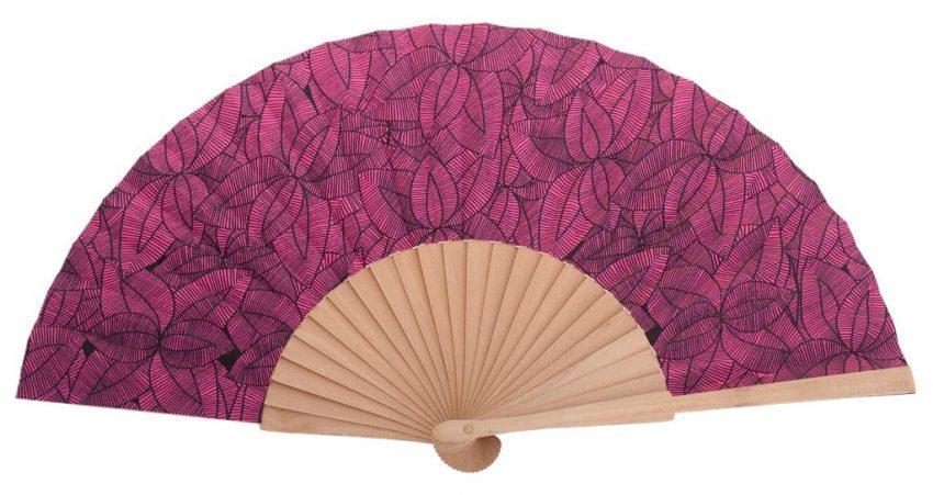 ALIZE - Éventail rose à feuilles en bois de bouleau
