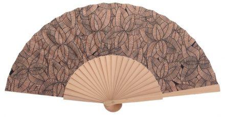 ALIZE - Éventail brun clair à feuilles en bois de bouleau