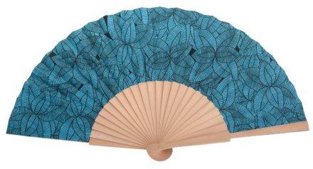 ALIZE - Éventail bleu clair à feuilles en bois de bouleau