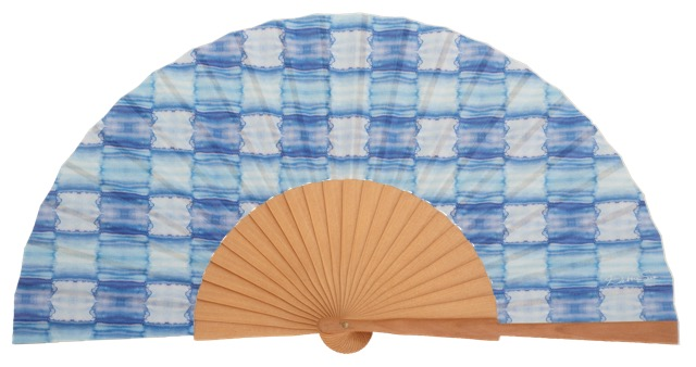 HELM - Éventail bleu en bois