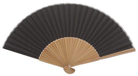 PONANT - Éventail noir en bois de bambou
