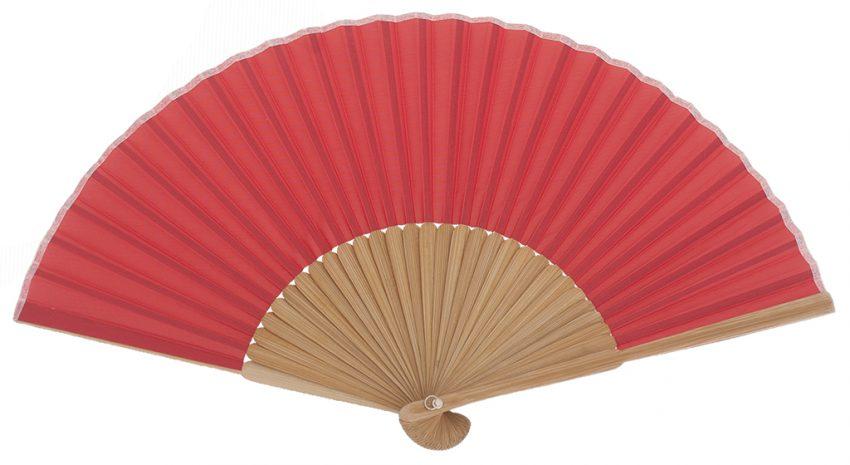 PONANT - Éventail rouge en bois de bambou