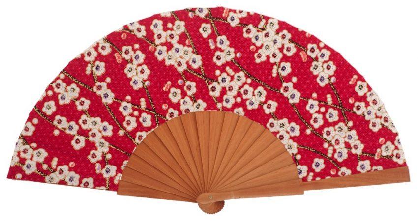 BALAGUERE - Éventail fleuri rouge en bois fruitier