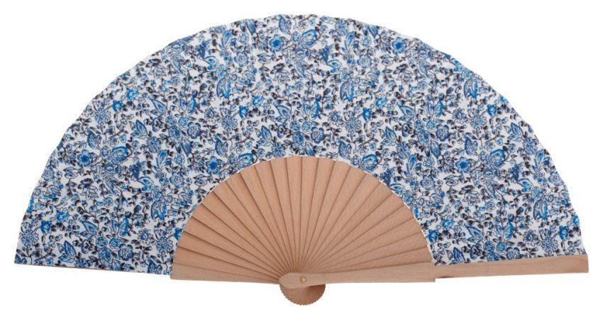 MARIN - Éventail fleuri bleu en bois de bouleau