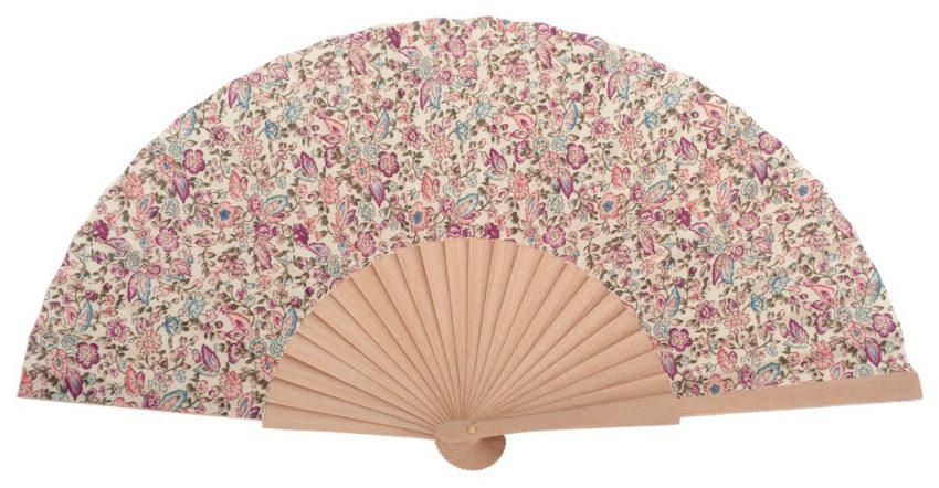 MARIN - Éventail fleuri rose clair en bois de bouleau