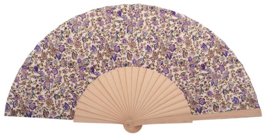 MARIN - Éventail fleuri violet en bois de bouleau